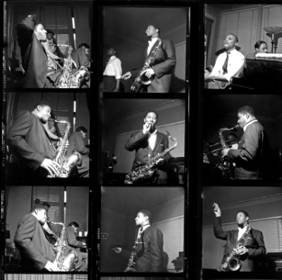 Francis Wolff photo contact sheets from classic Blue Note recording sessions