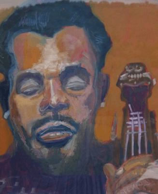 painting of Charles Mingus by James Brewer